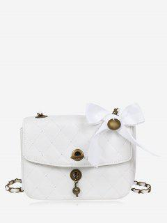 Metal Detailed Quilted Bow Crossbody Bag - White