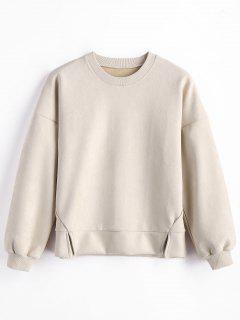 Suede Crew Neck Sweatshirt - Apricot S