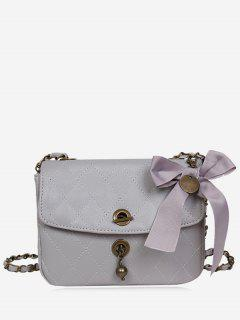 Metal Detailed Quilted Bow Crossbody Bag - Gray