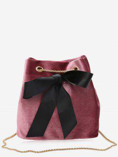 Bowknot Bucket Chain Crossbody Bag - Pink