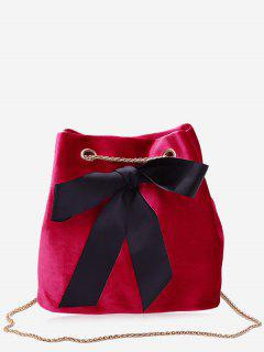 Bowknot Bucket Chain Crossbody Bag - Red