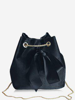 Bowknot Bucket Chain Crossbody Bag - Black