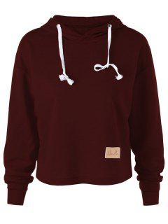 Drop Shoulder Crop Hoodie - Wine Red L