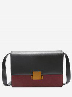 Contrasting Color Metal Detailed Crossbody Bag - Red