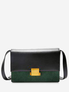 Contrasting Color Metal Detailed Crossbody Bag - Green