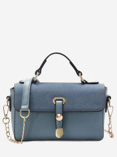 Metal Color Block Crossbody Bag - Blue