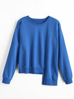 Asymmetrical Crew Neck Sweatshirt - Blue S
