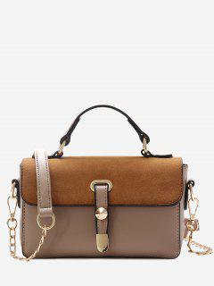 Metal Color Block Crossbody Bag - Khaki