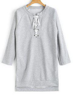 Longline High Low Lace Up Sweatshirt - Light Gray M
