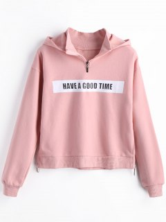 Fleece Side Zippers Graphic Hoodie - Pink L