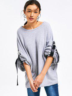 Bow Tied Sleeve Oversized Sweatshirt - Gray S