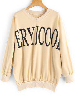 V Neck Letter Oversized Sweatshirt - Apricot Xl