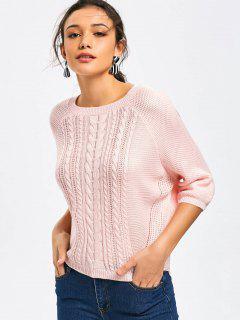 Raglan Ärmel Kabel Strick Pullover - Pink