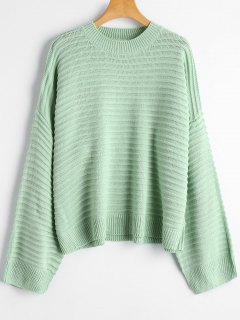 Drop Shoulder Plain Sweater - Light Green