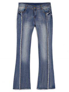 Bleach Wash Ninth Frayed Boot Cut Jeans - Denim Blue M