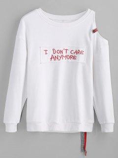 Letter Applique Cold Shoulder Sweatshirt - White Xl