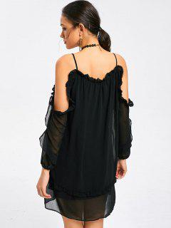 Ruffled Long Sleeve Cold Shoulder Mini Dress - Black M