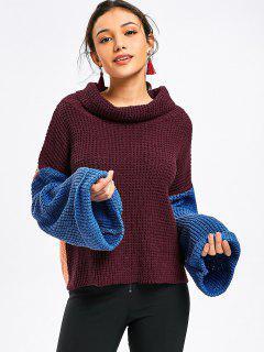 Suéter De Cuello De Cola De Gran Tamaño Color Block - Vino Rojo