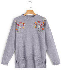Side Slit Embroidered High Low Sweater - Gris