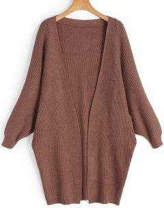 Batwing Open Front Cardigan - Coffee Brown