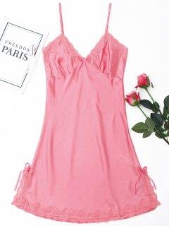 Laced Satin Slip Babydoll - Pink M