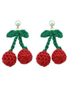 Cherry Shape Knitted Stud Earrings - Red
