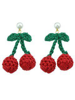 Pendientes De Perlas Con Forma De Cereza - Rojo