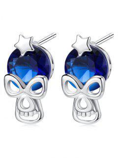 Halloween Star Skull Rhinestone Stud Earrings - Blue