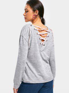 Back Lace Up Drop Shoulder Sweatshirt - Gray S