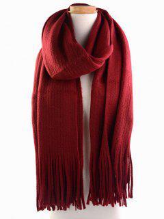Retro Soft Fringed Blanket Long Shawl Scarf - Wine Red