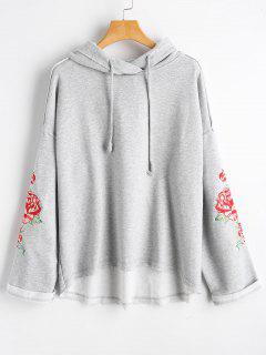 Oversized Flower Embroidered Hoodie - Gray L