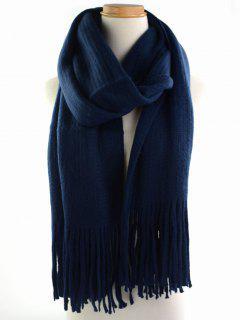 Retro Soft Fringed Blanket Long Shawl Scarf - Purplish Blue