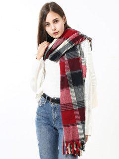 Soft Check Pattern Fringed Shawl Scarf - Multi