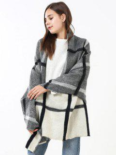 Soft Checked Pattern Shawl Scarf - Off White + Grey