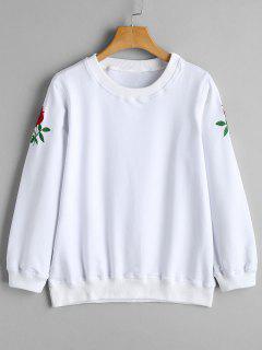 Sweat-shirt Brodé Rose Col Rond - Blanc S