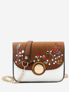 Rivets Embroidery Chain Crossbody Bag - Brown