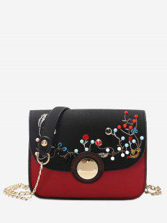 Rivets Embroidery Chain Crossbody Bag - Black