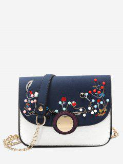 Rivets Embroidery Chain Crossbody Bag - Blue