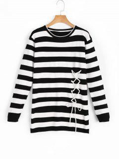 Lace Up Stripes High Low Sweater - Black