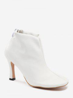 Stiletto Back Zip Pointed Toe Boots - White 36