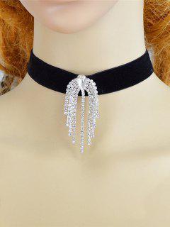 Alloy Faux Diamond Fringed Choker Necklace - Black