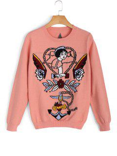 Pullover Cartoon Star Jacquard Sweater - Orange Rose S