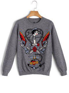 Pullover Cartoon Star Jacquard Sweater - Gris S