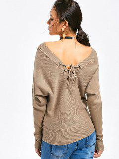 Convertible Encaje Hasta El Suéter De Cuello En V - Caqui S