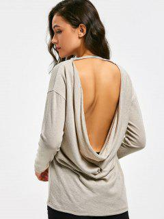 Drop Shoulder Open Back Knitted Top - Light Khaki S