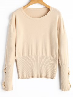 Lace-up Ribbed Sweater - Apricot