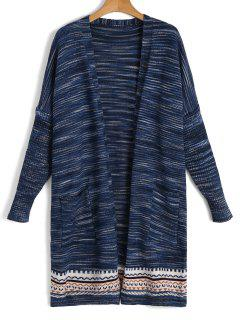 Jacquard Open Front Cardigan - Blue