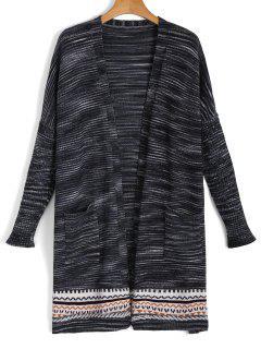 Cardigan Tricoté Et Multicole Ouvert Devant  - Noir
