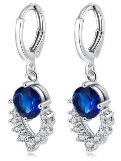 Retro Artificial Gemstone Hollow Out Dangle Earrings - Blue