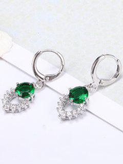 Retro Artificial Gemstone Hollow Out Dangle Earrings - Green